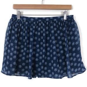 ABERCROMBIE & FITCH Blue Sheer Floral Mini Skirt